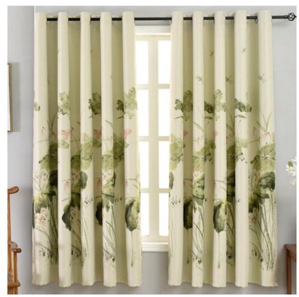 Rèm vải dày che nắng tốt cách nhiệt thoa sen thư pháp 3m x 2m cao