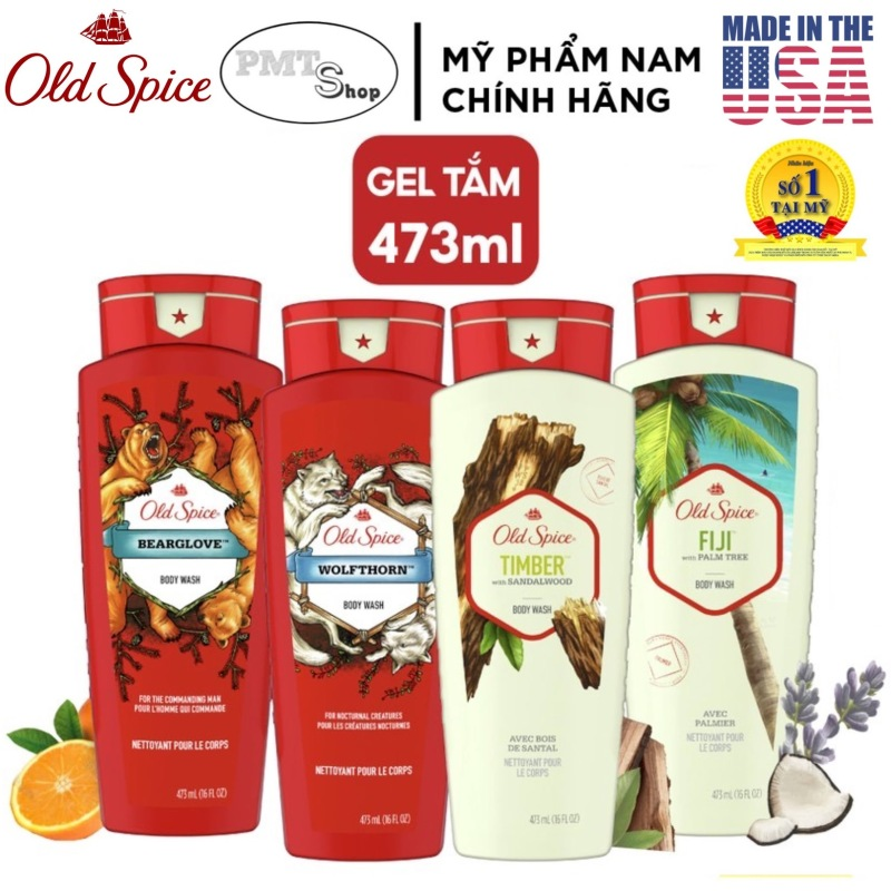 [USA] 1 chai Sữa tắm nam Gel Old Spice 473ml Timber | Bearglove | Swagger | Fiji | Wolfthorn | Tắm gội 2in1 532ml - Mỹ cao cấp