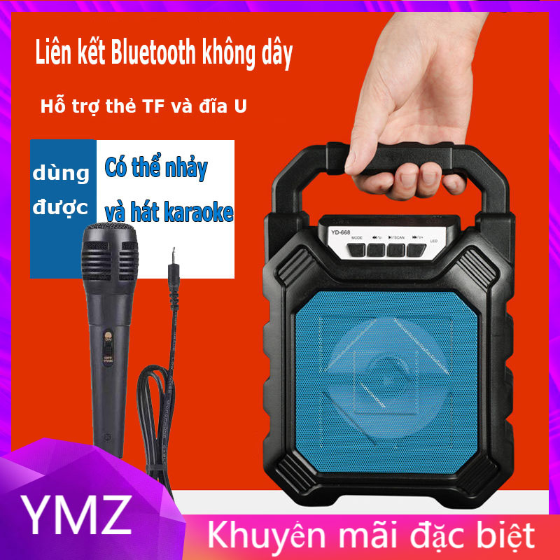 Loa MINI YD668 Có Mic Hát Karaoke Nghe Nhạc Bluetooth, Loa Bluetooth, Loa Karaoke cắm thẻ nhớ, nghe đài FM