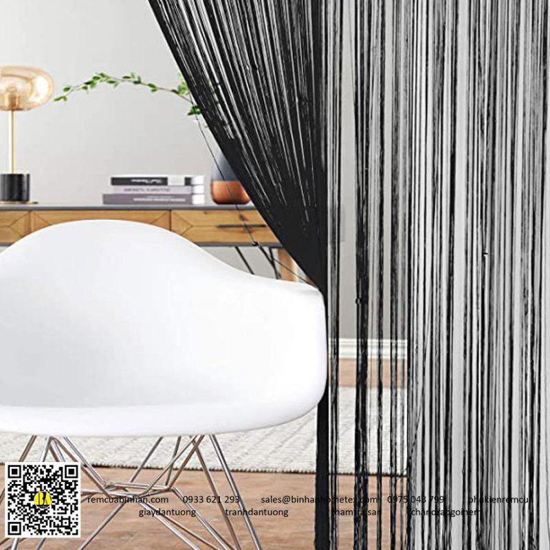 Rèm sợi chỉ màu đen trơn 3m*3m Rèm sợi chỉ trang trí nhà hàng, shop, spa tiệc cưới, rèm tiệm tóc