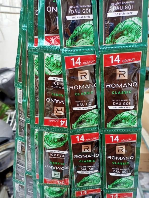 Set 50 gói dầu gội Romano 5g (Xanh lá - Xanh dương - Đỏ - đen - 5in1) giá rẻ