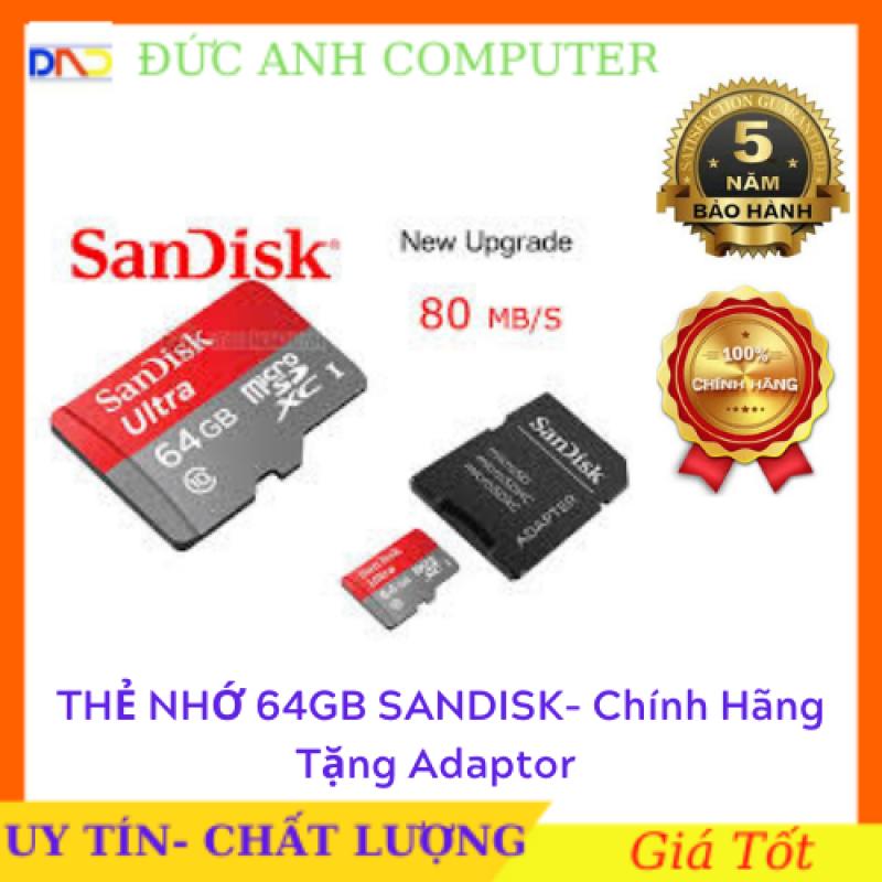 Thẻ nhớ SanDisk 64GB Tặng Adaptor– SanDisk Ultra MicroSD  – Bảo hành 5 năm
