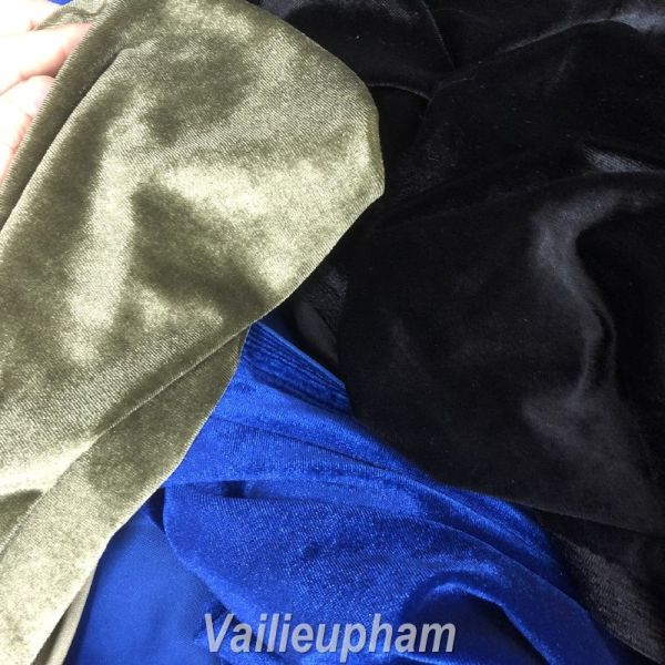 Vải Nhung Bẩy Biên Loại Đẹp Nhiều Màu Không Bong Tuyết Dùng May Áo Dài, Váy, Body Khổ vải 1.5m