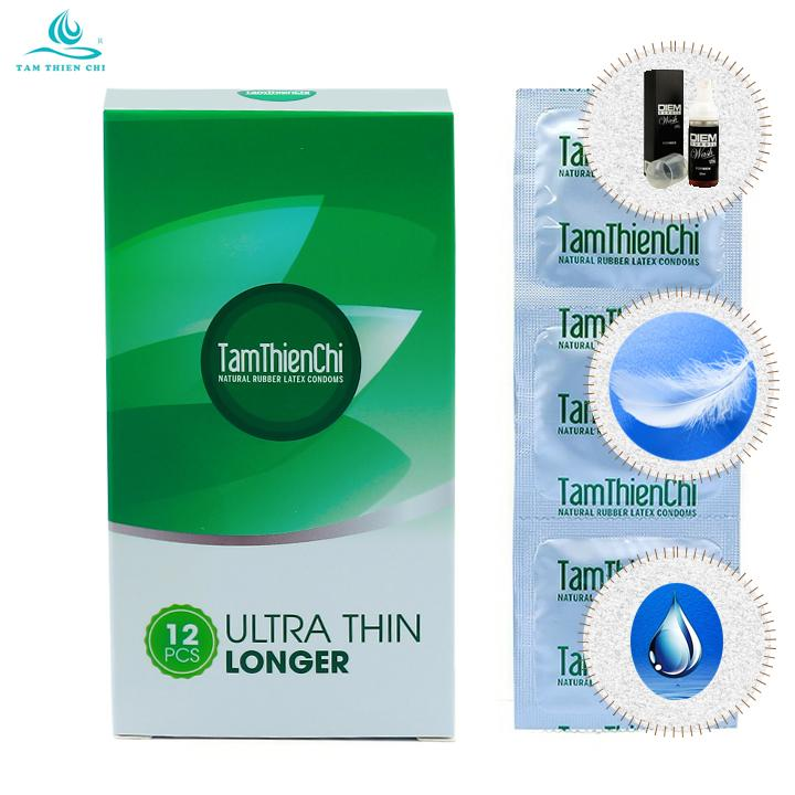 Bao cao su Tâm Thiện Chí TTC Ultra Thin Longer hộp 12 chiếc và 1 chai DIEM Wash 10ml nhập khẩu