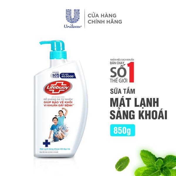 Sữa tắm Lifebuoy 850g Mát lạnh sảng khoái giúp bảo vệ khỏi 99.9% vi khuẩn và ngăn ngừa vi khuẩn lây lan trên da tốt nhất giá rẻ