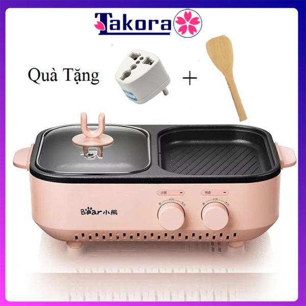 nồi lẩu nướng điện mini đa năng cao cấp Bear, nồi đa năng mini cao cấp 2 ngăn chống dính loại tốt - Takora