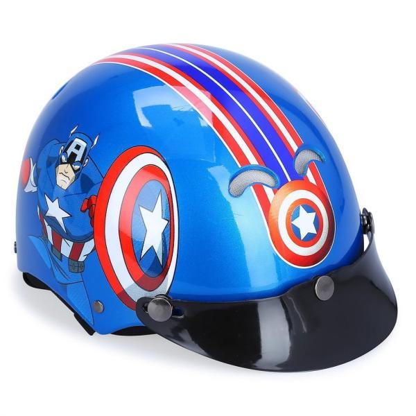 Giá bán Mũ Bảo Hiểm Trẻ Em Nửa Đầu Không Kính, Mũ Bảo Hiểm Dành Cho Bé Trai, Mũ Bảo Hiểm Protec Kitty Họa Tiết Captain America Chất Liệu ABS- LEDORA