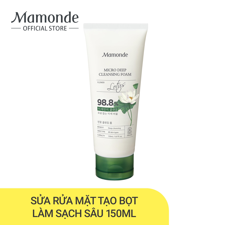 Sữa rửa mặt làm sạch lỗ chân lông mụn đầu đen Mamonde Micro Deep Cleansing Foam 150ml nhập khẩu