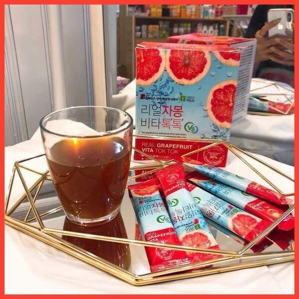 Trà Bưởi Đỏ Ép Sanga Real Grapefruit Vita Tok Tok hộp 30 gói