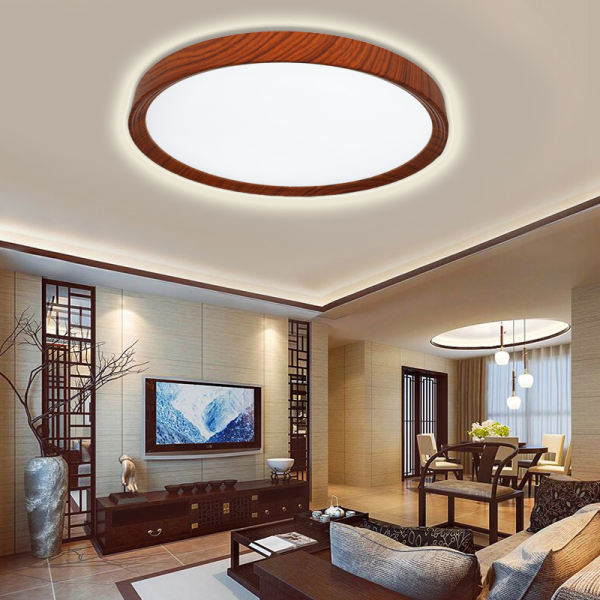 Đèn led ốp trần vân gỗ chiếu sáng phòng khách phòng ngủ phòng đọc sách