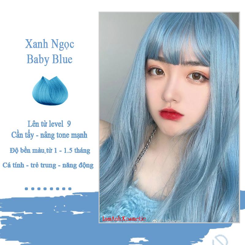 Thuốc nhuộm tóc BABY BLUE màu nhuộm lên chuẩn tone kem nhuộm an toàn không sót mùi thơm (đã bao gồm thuốc tẩy) nhập khẩu