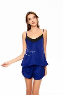 Dreamy-DN17- Đồ bộ ngủ lụa cao cấp, đồ bộ ngủ lụa 2 dây cổ tim có 4 màu xanh coban, xám, nude và xanh bơ thumbnail