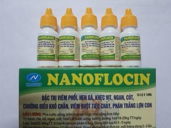 5 lọ nanoflocin (5ml/lọ) nhỏ gà khẹc, sưng phù đầu, phân xanh phân trắng gà