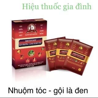 Combo 3 hộp Thuốc Nhuộm Tóc-Gội Là Đen -Linh Chi Đen Tóc- hộp 3 gói - Gội đen tóc thumbnail