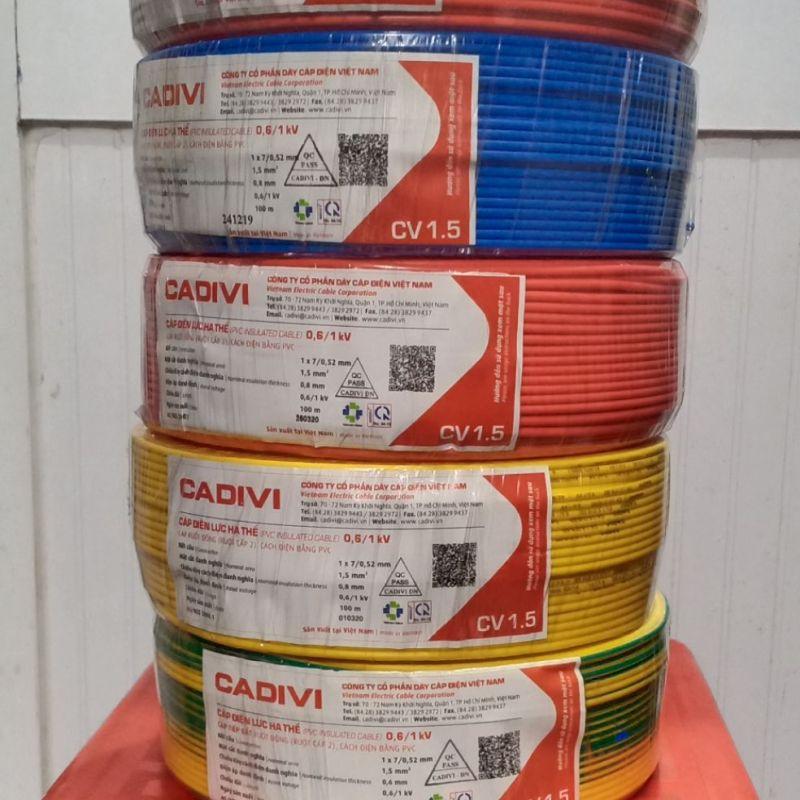 Bảng giá Dây điện Cadivi CV1.5  0.6/1kv (1 cuộn= 100m) Điện máy Pico