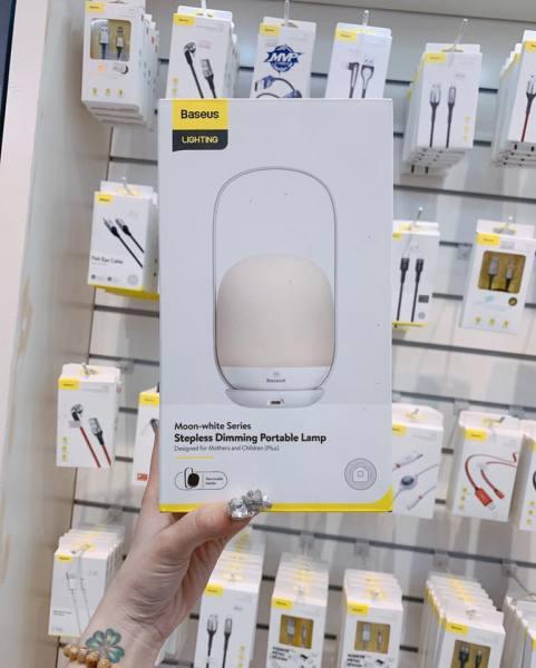 Đèn ngủ Baseus Moon-white Dimming Portable Lamp ( Pin sạc 30 giờ hoạt động )