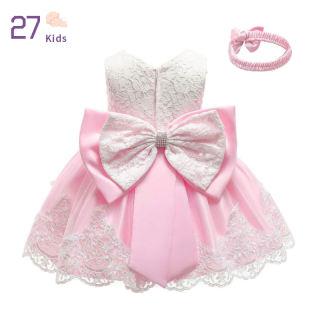 27 Đầm Công Chúa Cho Trẻ Sơ Sinh + Băng Đô, Đầm Trang Trọng Cổ Tròn Thắt Nơ Ren Cho Bé Gái, Váy Xòe Không Tay