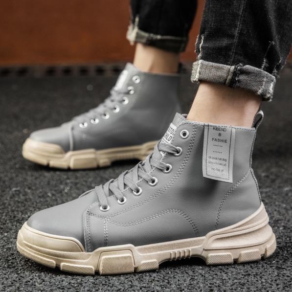 Giày cao cổ nam KiBenn màu ghi kiểu dáng cực ngầu - B end T Shop giá rẻ