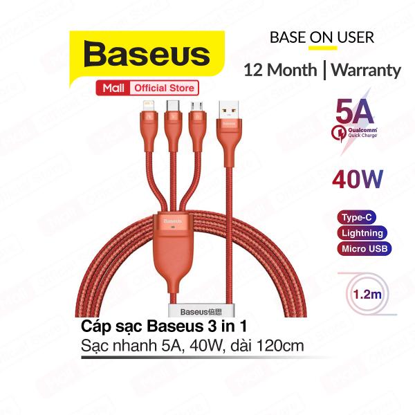 Cáp sạc Baseus 3 in 1 ( Lightning/Micro/Type-c ) sạc nhanh 5A, công suất 40W, hỗ trợ truyền dữ liệu 480Mbps, dài 120cm