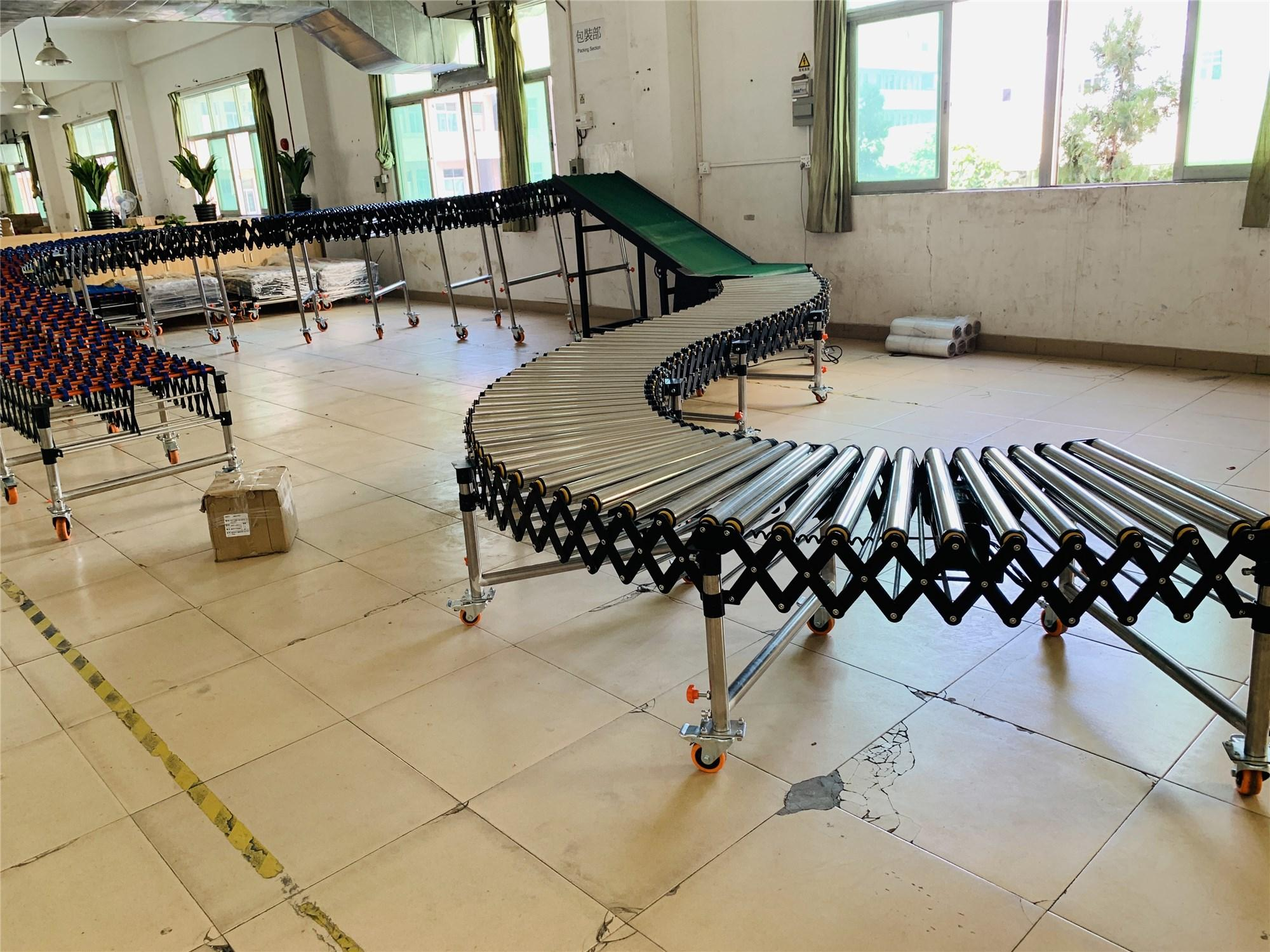 Electric power retractable flexible expandable rollers conveyor  transportation systems