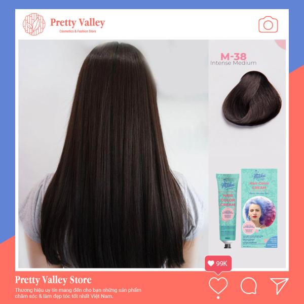 Kem nhuộm tóc cao cấp màu đen vừa Molokai 60ml [ TẶNG KÈM GĂNG TAY + CHAI OXY TRỢ DƯỠNG TÓC ] nhập khẩu