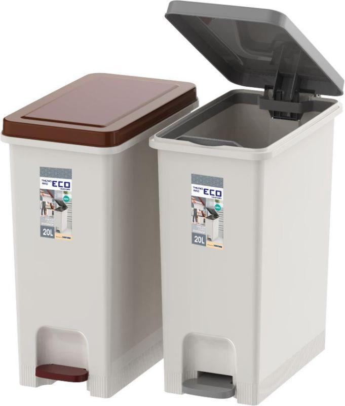 Combo 2 Thùng rác ECO 1 ngăn 20 lít Duy Tân No.0953/1 – Thiết kế vững chắc, hiện đại, giúp phân loại rác rất tốt