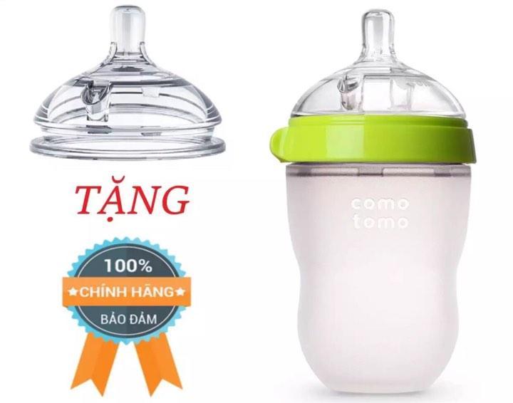 Bình Sữa Comotomo 250ml Siêu Mềm- Tặng Núm Ti Thay Thế Cho Bình Đang Khuyến Mãi