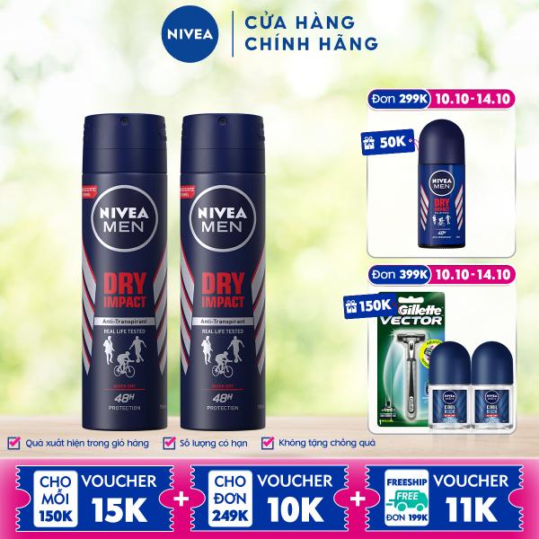 Combo 2 Xịt Ngăn Mùi NIVEA MEN Dry Impact Khô Thoáng 150ml - 81602 cao cấp