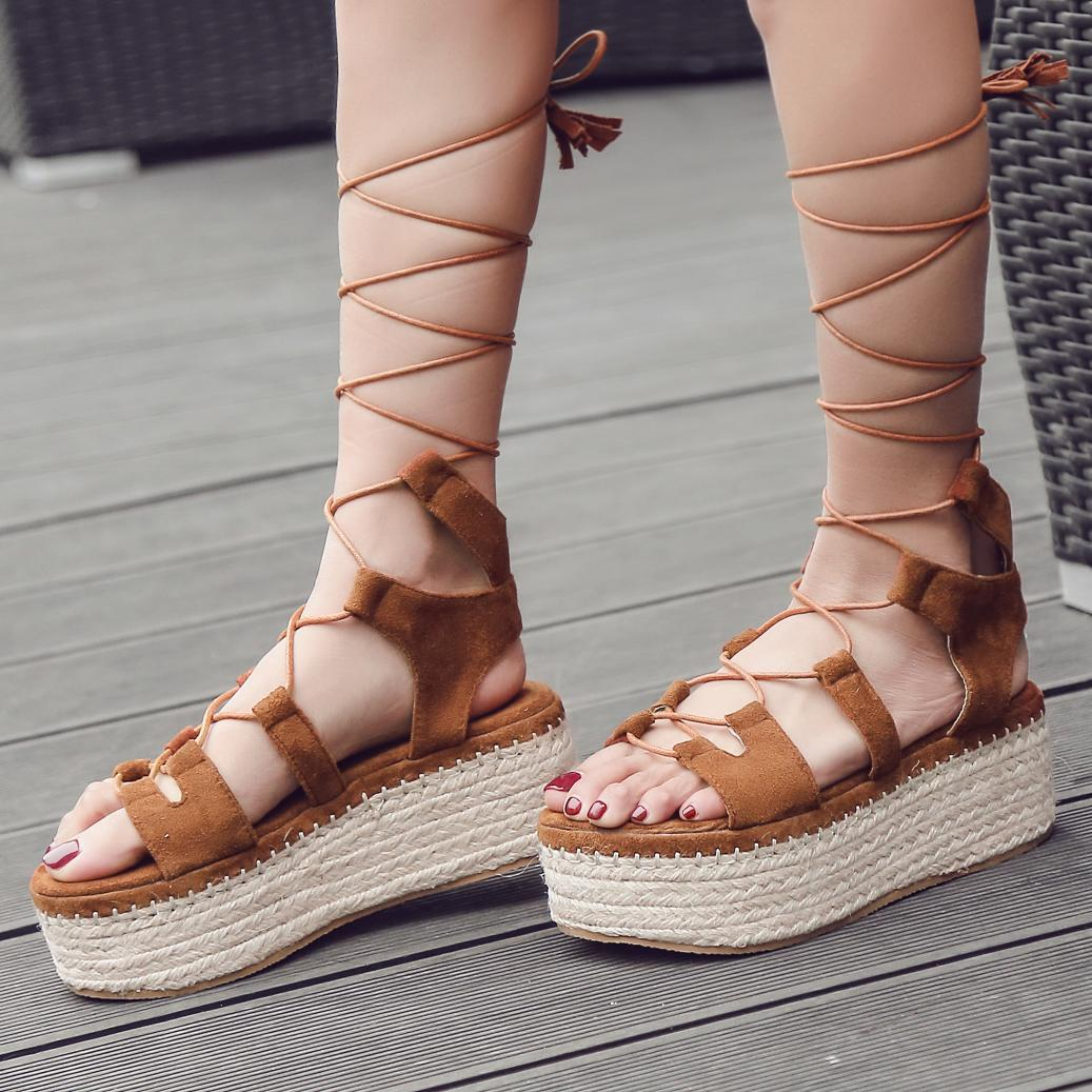 233b188ccb6 2019 Summer Rome Sandals women Thick Bottomed Cross Straps Students  Waterproof Platform Straw Slanted Heel Muffin