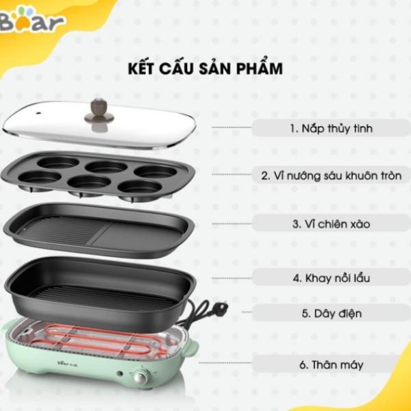 Bảng giá Bếp Nướng,Lẩu Nướng,Nồi Lẩu,Bếp nướng bánh Bear - 3 Khay Đi Kèm rất tiện lợi Điện máy Pico