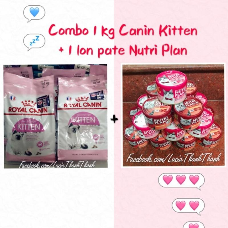Combo 1 kg hạt Royal Canin Kitten + 1 lon pate Nutri Plan 160gr