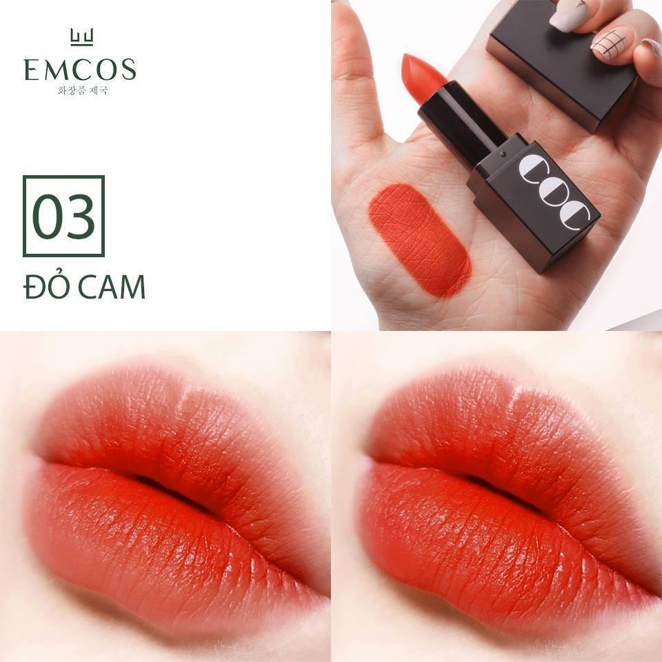 Son thỏi màu Đỏ Cam Emcos Coringco Momo First Chu Semi Matt Liptick  Hàn Quốc