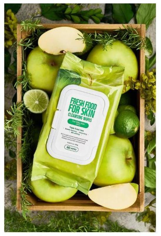 Khăn Ướt Tẩy Trang Farm Skin Fresh Food Apple Cho Da Dầu 60 Miếng