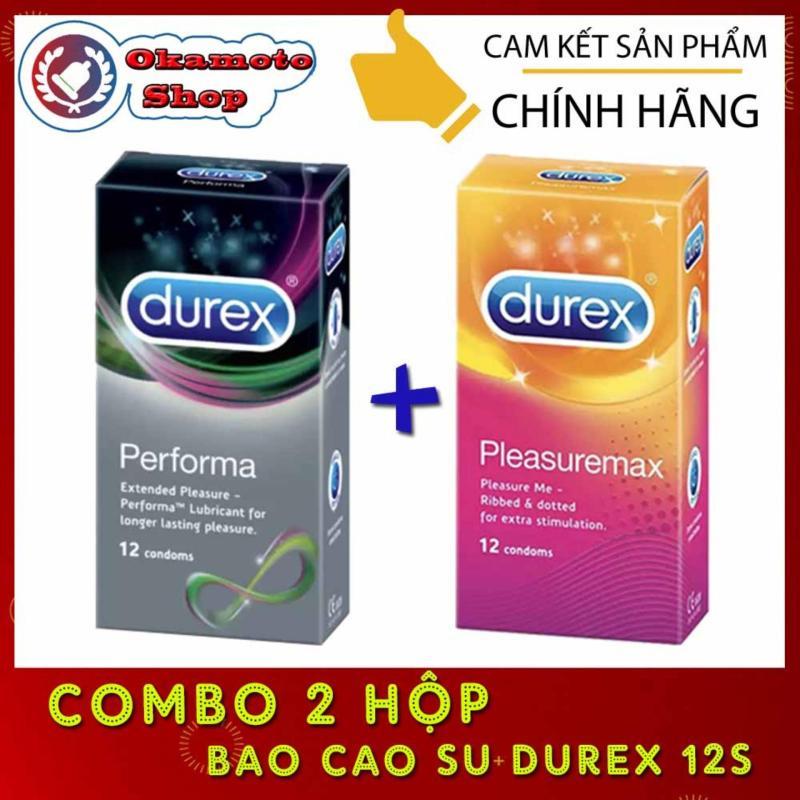 [Combo 2 hộp] Durex Performa kéo dài thời gian quan hệ + Durex Pleasuremax gân gai - [Che tên sản phẩm] cao cấp