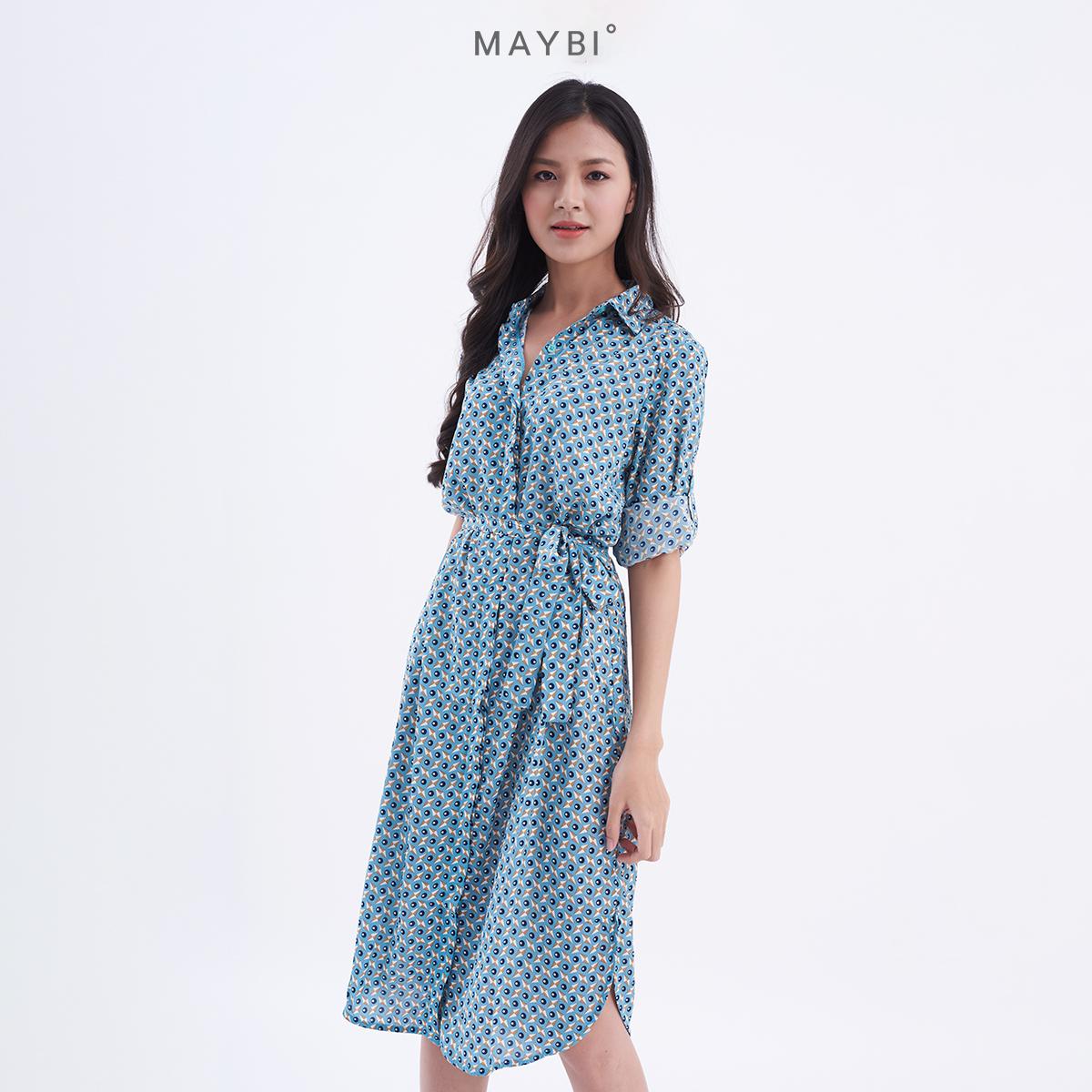 Giá Quá Tốt Để Có MAYBI - Đầm Nữ Sơ Mi Xanh Họa Tiết Hình Học Eirly Dress