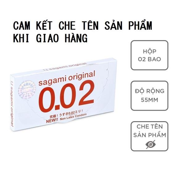 Bao cao su Sagami 002 bcs siêu mỏng nhiều gel bôi trơn 1 hộp 2c không mùi có che tên sản phẩm - Keulendi Store cao cấp