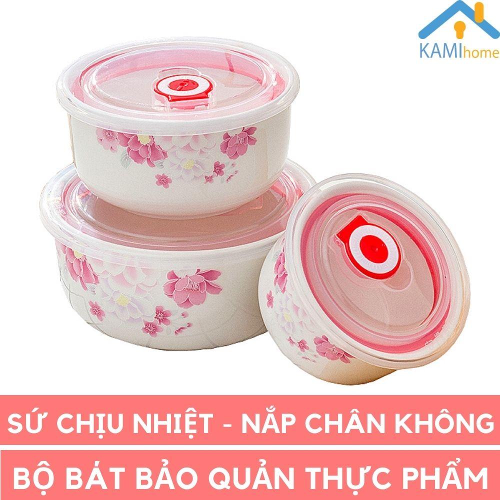 Bộ 3 bát sứ có nắp chân không bảo quản thực phẩm Camellia KamiHome vận chuyển gốm sứ cao cấp tráng men, an toàn chuyên dùng trong ngành thực phẩm