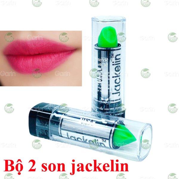 Bộ 2 thỏi Son gió dưỡng môi có màu cho học sinh Jackelin Thái Lan màu xanh giúp môi không bị khô, nứt nẻ, giữ màu đến 8h cho đôi môi thêm căng mọng, mềm mịn đầy quyến rũ