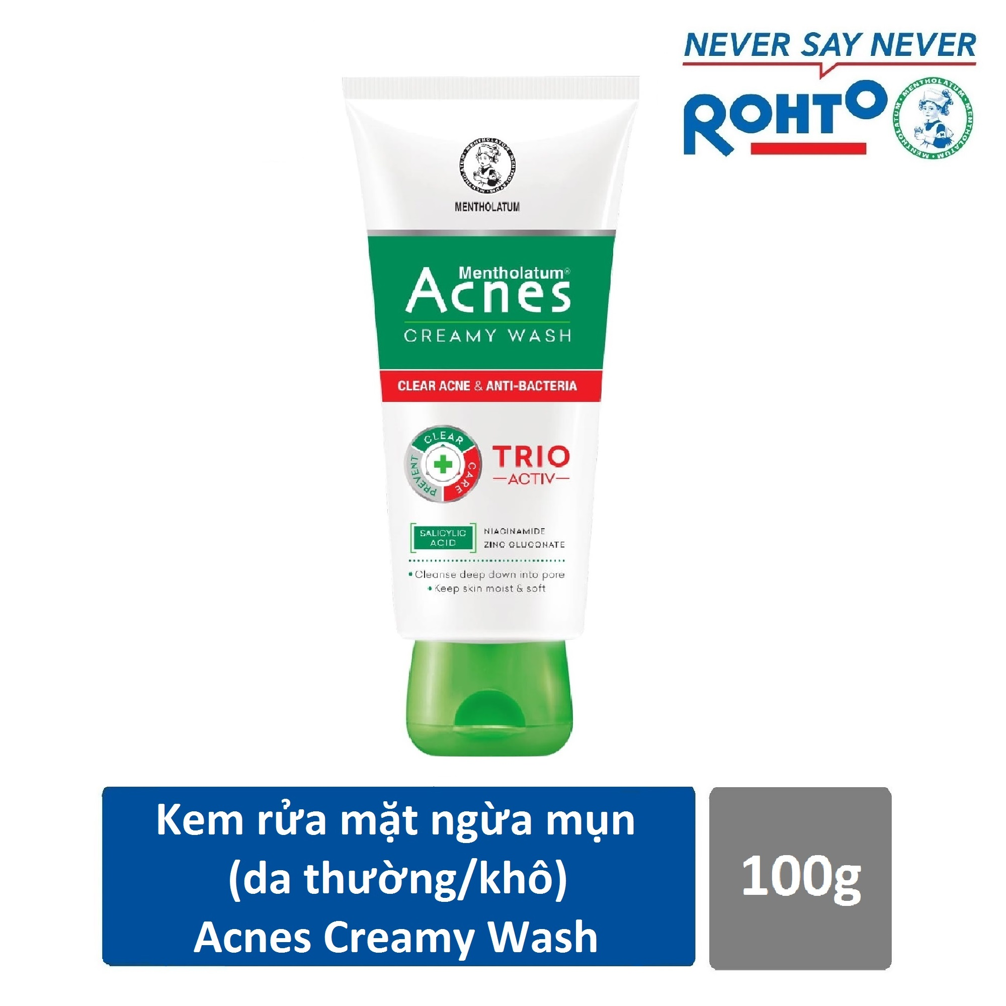 Sữa rửa mặt ngăn ngừa mụn Acnes Creamy Wash 100g cao cấp