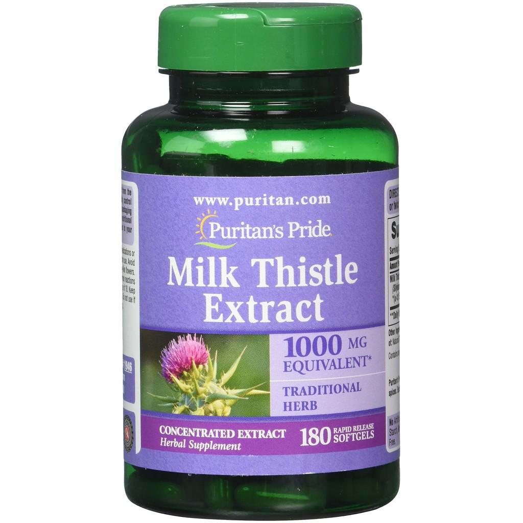 Viên uống bổ gan Milk Thistle 4:1 Extract 1000 mg (Silymarin) Puritans Pride