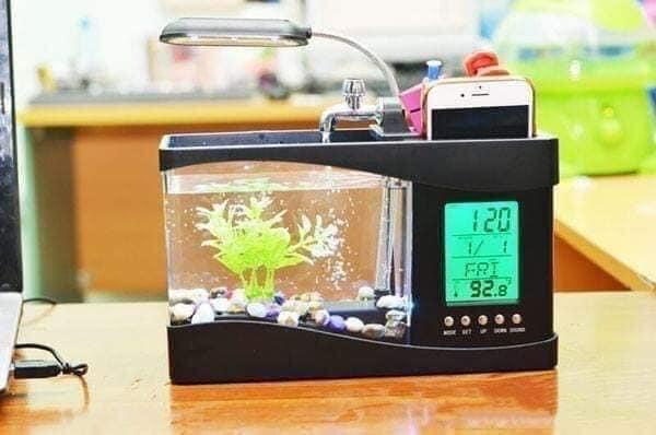 [Tặng Kèm Đá Và Cây] Bể Cá Mini Để Bàn Giá Rẻ Có Đèn- Be Ca Mini- Bể Cá Phong Thủy Mini sử dụng nguồn điện usb-Bể cá mini siêu đẹp để bàn làm việc đa năng có đèn led, đồng hồ, lọc nước, hộp đựng bút
