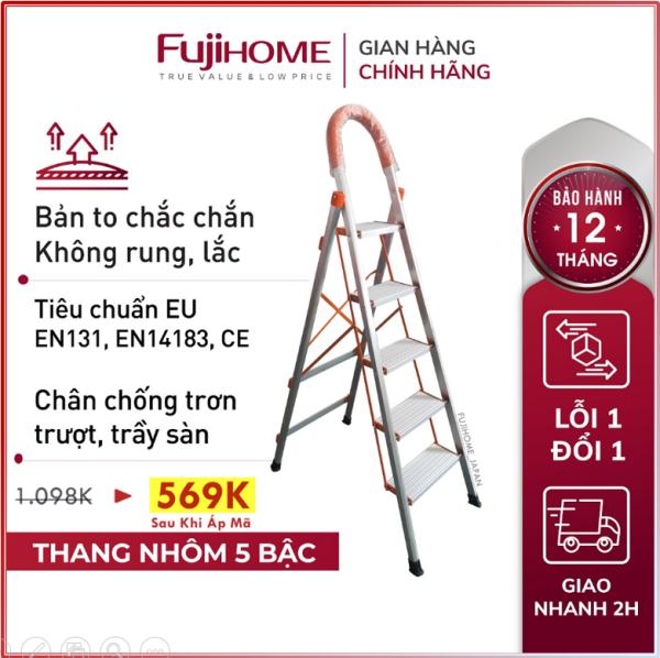 Thang ghế nhôm tay vịn chữ A bản to 4 - 5 bậc từ 1,4M - 1,65M xếp gọn chính hãng FUJIHOME, Thang chữ A gia đình đa năng rút gọn Nhật Bản
