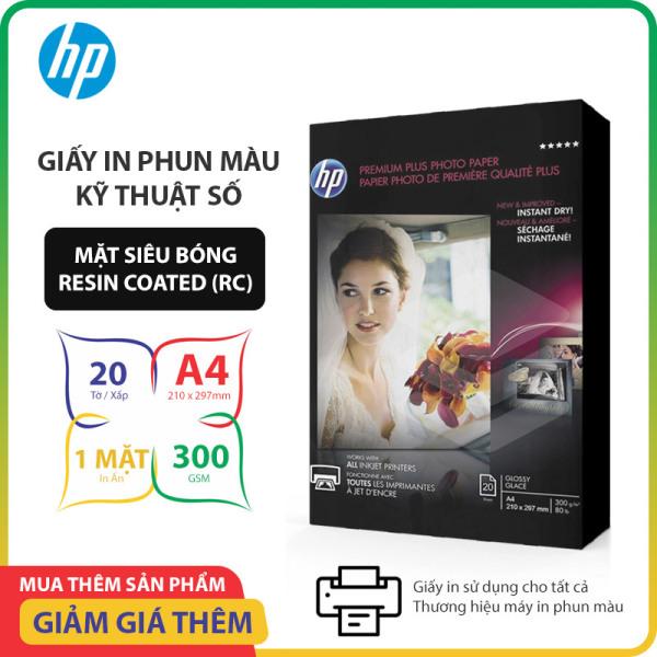 Giấy In Phun Màu HP Premium Plus Khổ A4 Bề Mặt Siêu Bóng (Resin Coated) Giấy 1 Mặt In Định Lượng 300gsm 20 tờ, Dùng Cho In Ảnh Màu & Tài Liệu Màu