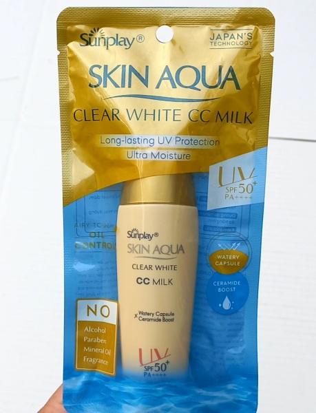 Che khuyết điểm Chống Nắng  Sunplay Skin Aqua CC Milk SPF50+ PA++++ 25g (kiểm soát dầu) nhập khẩu