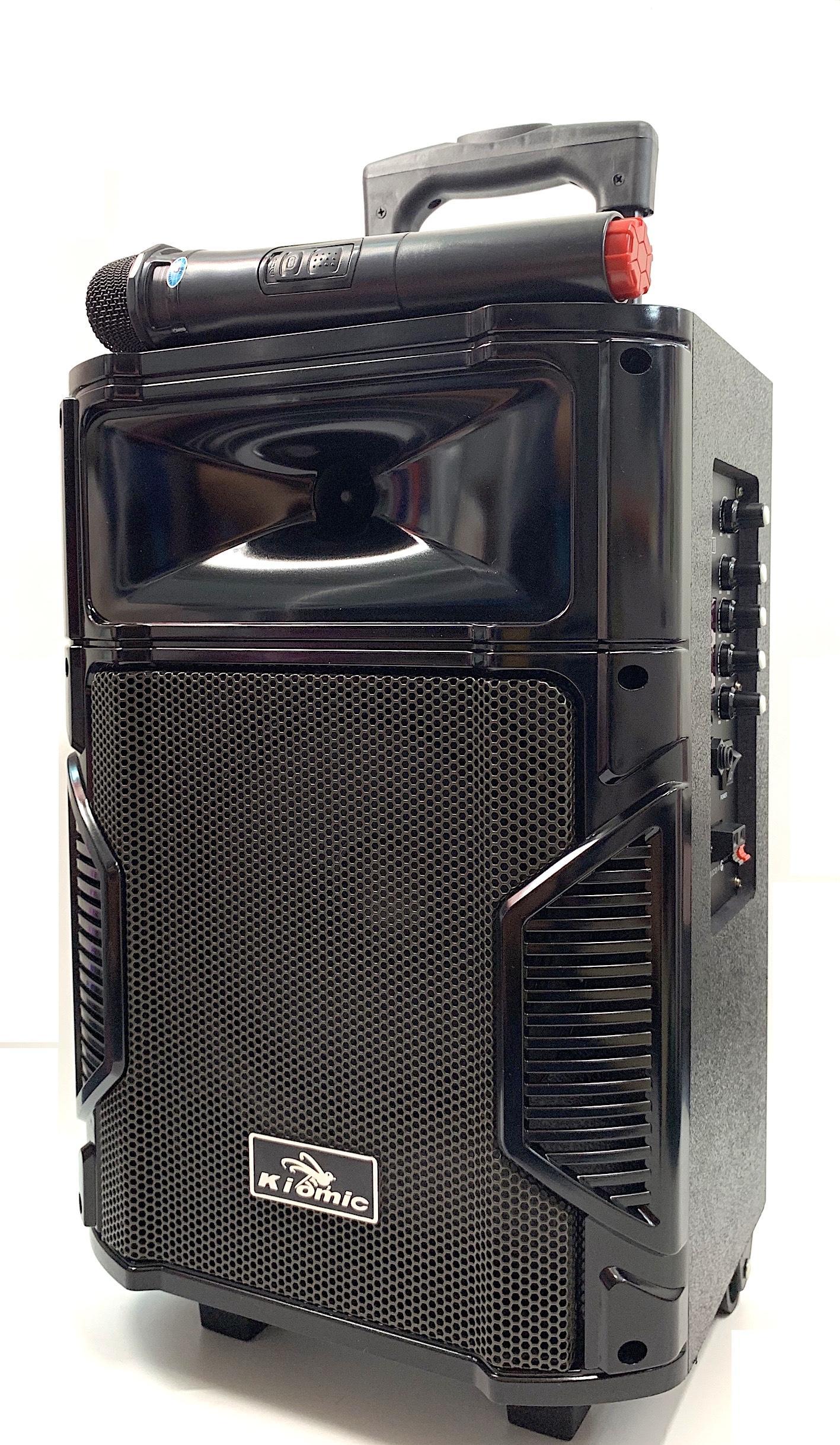 [HCM]Loa Karaoke Bluetooth Di Động Vali Kéo Kiomic K108 Thùng Gỗ (Tặng Kèm 1 Micro Không Dây Hát Cực Hay)