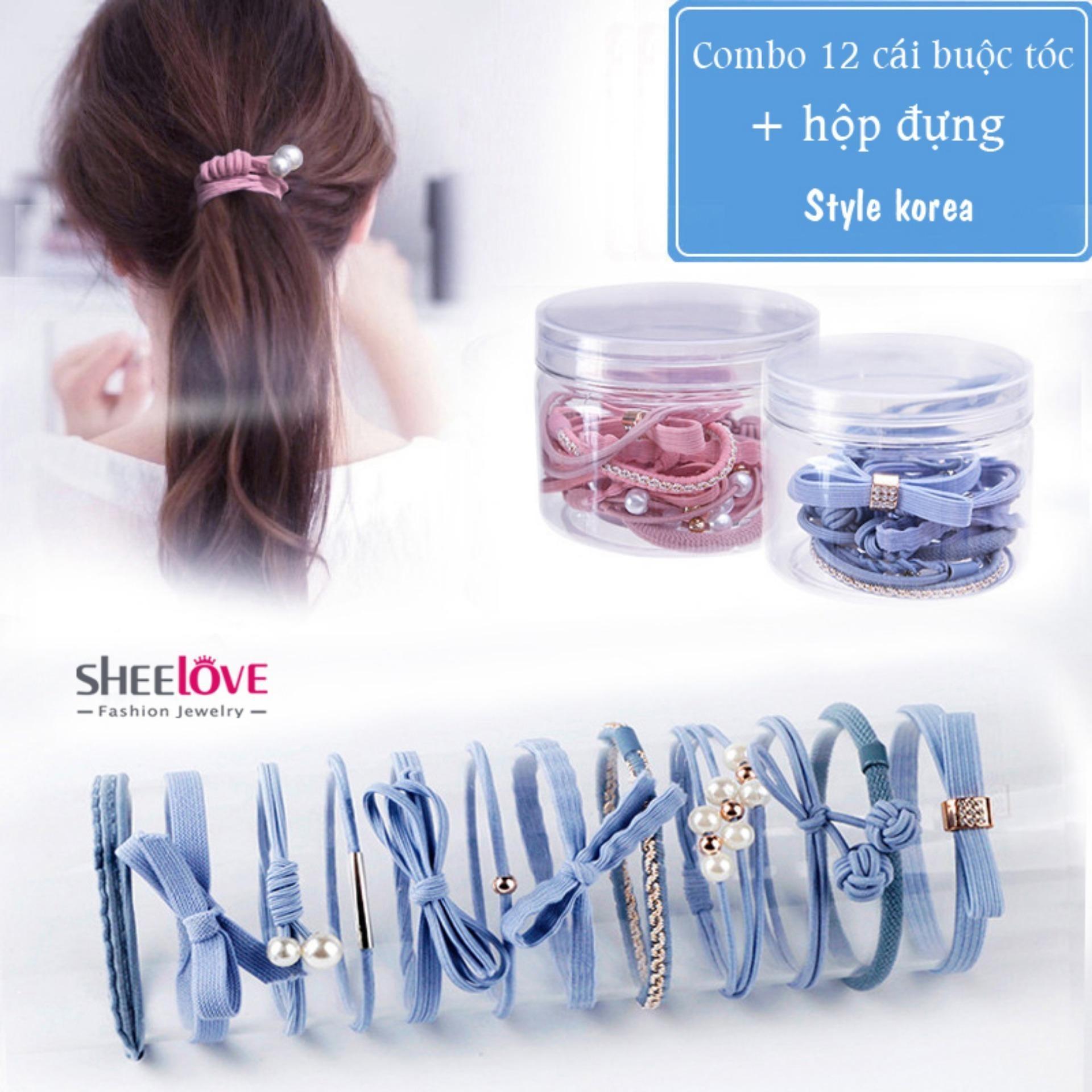 Combo 12 dây cột tóc Giá sỉ Thời trang Hàn Quốc nơ ngọc trai hoa lá dễ thương Siêu rẻ xinh xắn Chất lượng cao cấp