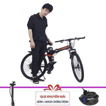 Mua Xe đạp gấp AfterWard (Đen) + Tặng khóa chống trộm và bơm xe