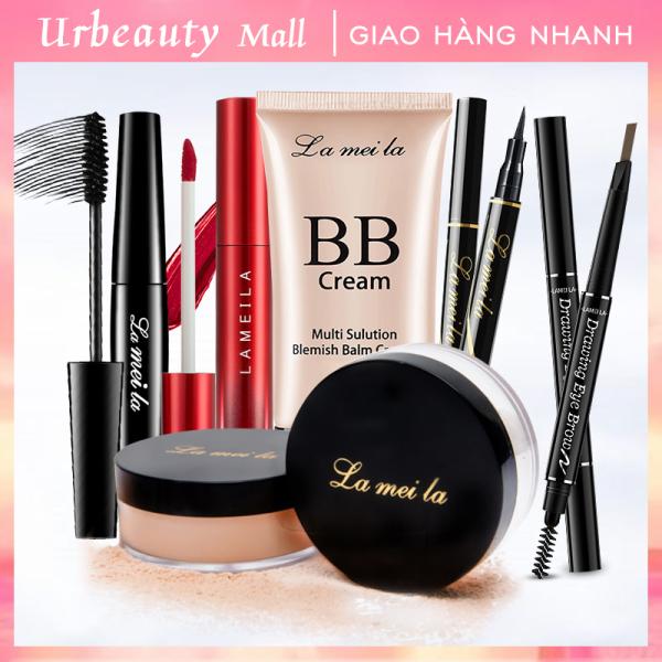 【Urbeauty Mall】Bộ trang điểm chuyên nghiệp 6 món LaMeiLa Kem BB che khuyết điểm + Phấn phủ bột + Chì kẻ mày lâu trôi + Bút dạ kẻ mắt + Mascara 4d + Son kem lì bộ makeup đầy đủ set trang điểm đẹp