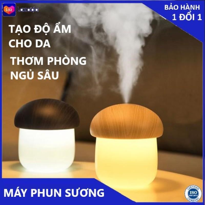 Máy phun sương để bàn kiêm đèn ngủ Jisulife JM02 hình nấm lùn đáng yêu, phun sương nano làm đẹp da, tạo ẩm không khí - 250ml, đèn ngủ LED 2 màu ánh sáng