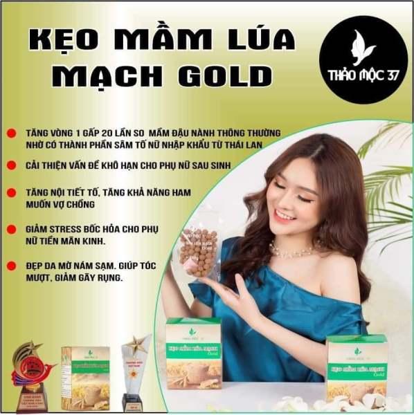 Kẹo Mầm Lúa Mạch Gold Thảo Mộc 37 Tặng Size Vòng 1 Đẹp Da Tăng nội tiết tố nữ [Tặng Turban Hàn Quốc]